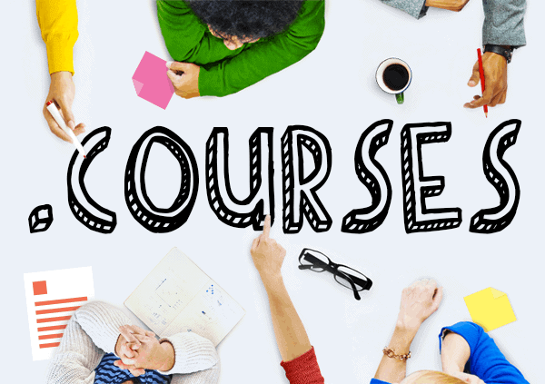 .courses banner with different person