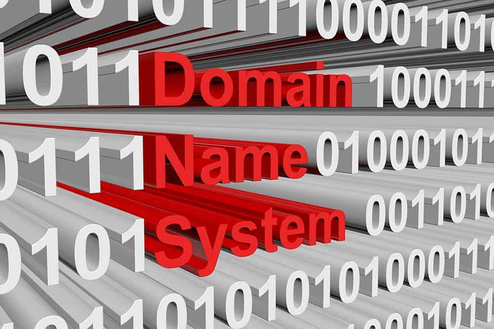 domain name system text with binary code